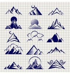 Mountain icons on notebook background vector image