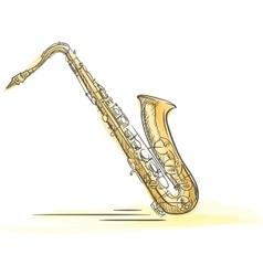 Sax Drawn Watercolor vector image vector image
