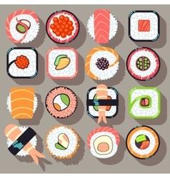 Sushi japanese cuisine food flat icons vector image