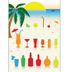 tropical drinks set vector image