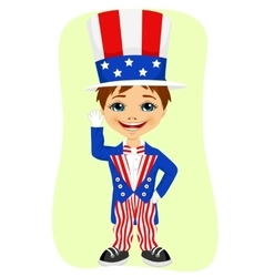Young boy dressed up like Uncle Sam vector image vector image