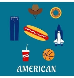 American flat symbols and icons vector image vector image