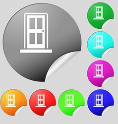 Door icon sign Set of eight multi colored round vector image