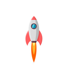 rocket launch isolated on white vector image