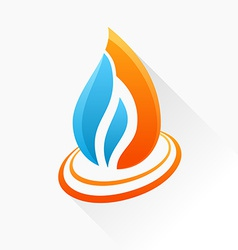 symbol fire Orange and blue flame glass icon with vector image vector image