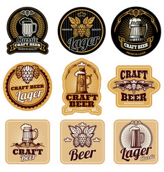 vintage beer bottle labels vector image vector image
