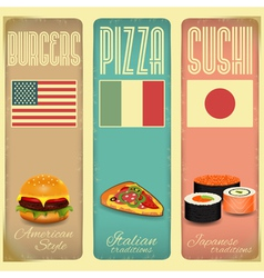 Vintage menu card for fast food vector