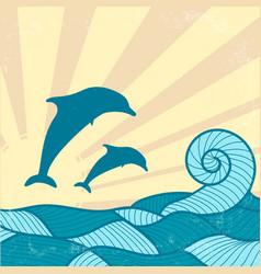 vitage poster with dolphins vector image