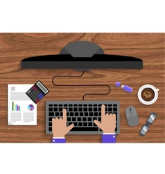 Business man working with laptop vector image