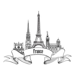 france label famous french landmark set travel vector image