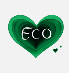 paper art of eco green heartgradient vector image vector image