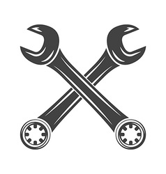 Two crossed spanners Black on white flat logo vector image vector image