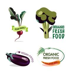 Vegan set of design elements vector image vector image