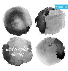 Watercolor Dark Grey Circles Set vector image vector image