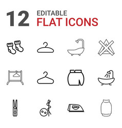 12 cloth icons vector