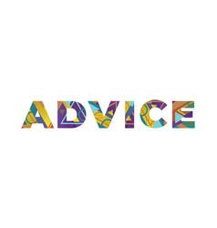 Advice concept retro colorful word art vector