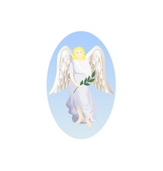 Angel with palm branch vector