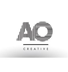 Ao a o black and white lines letter logo design vector