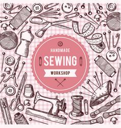 Background needlework tools vector