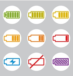 Battery charge indicator icons set simplistic vector