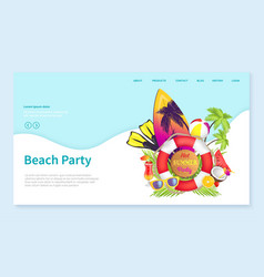beach party surfboard with lifebuoy tropics vector image