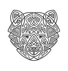 Bear head celtic style t-shirt typography design vector