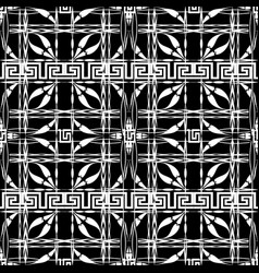 black and white checkered greek seamless pattern vector image