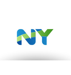 Blue green ny n y alphabet letter logo vector