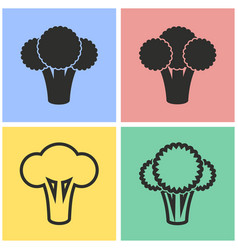 Broccoli icon set vector