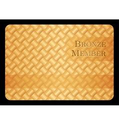 Bronze member card with diagonal crossing bar vector