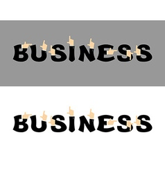 Business typography pointing hand alphabet vector