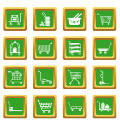 Cart types icons set green square vector