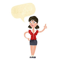 Cartoon woman with great idea with speech bubble vector