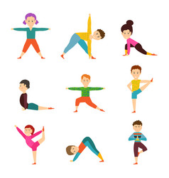 Children in different yoga poses isolated on white vector