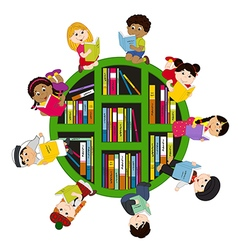 Children of different nationalities read books vector