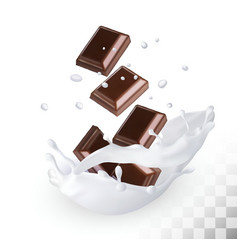 Chocolate in a milk splash on a transparent vector