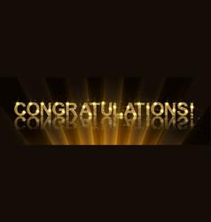 Congrats congratulations gold banner vector