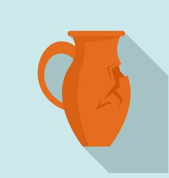 Cracked jug icon flat style vector