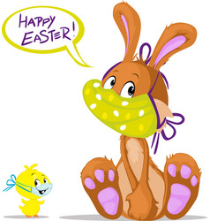 cute bunny and chicken wish you happy easter with vector image