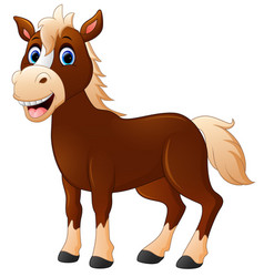 Cute horse cartoon vector
