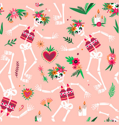 day of the dead seamless pattern with funny vector image