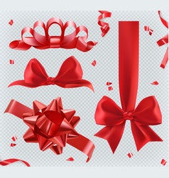 decorations red bows 3d set of icons vector image
