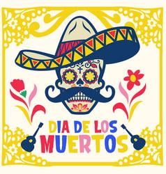 dia de los muertos design with sugar skull vector image