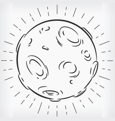 doodle full moon hand drawn sketch clipart vector image