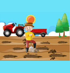 Farm scene with farmer making holes in the ground vector