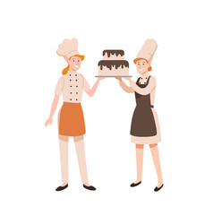 female confectioners flat vector image