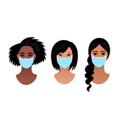 female portraits in protection medical masks vector image