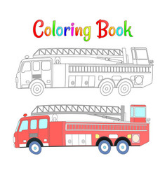 fire truck coloring book coloring pages vector image