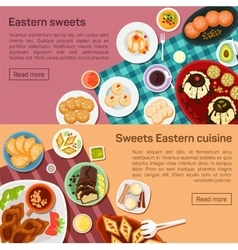 Flat eastern sweets dishes vector