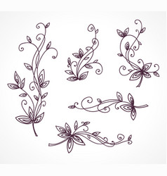 floral decorative set for design vector image